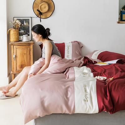 2019新款60s天丝四件套 1.8m(6英尺)床 爱丽丝-复古红