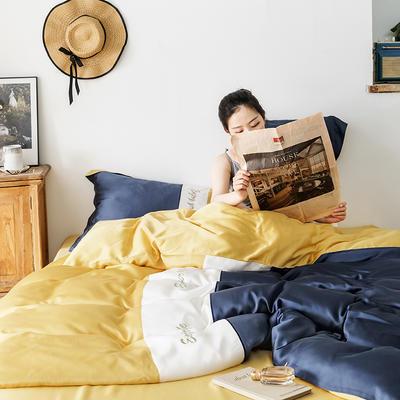2019新款60s天丝四件套 1.8m(6英尺)床 爱丽丝-深海蓝