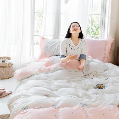 2019新款60s天丝四件套 1.8m(6英尺)床 花开半夏-粉