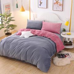 2019新款休闲保暖两用四件套 1.5m(5英尺)床 绚丽豆沙红+灰
