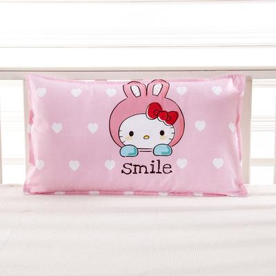 幼儿园儿童系列大版花13372纯棉卡通定位枕套 枕芯包装/个 微笑猫咪枕套