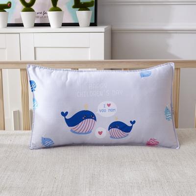 幼儿园儿童系列大版花13372纯棉卡通定位枕套 枕芯包装/个 小鲸鱼枕套