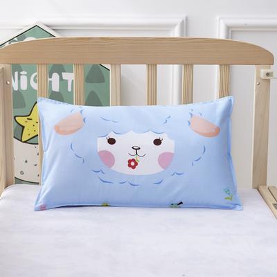 幼儿园儿童系列大版花13372纯棉卡通定位枕套 枕芯包装/个 小绵羊枕套