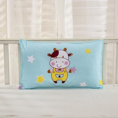 幼儿园儿童系列大版花13372纯棉卡通定位枕套 枕芯包装/个 小奶牛枕套