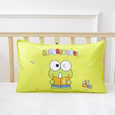 幼儿园儿童系列大版花13372纯棉卡通定位枕套 枕芯包装/个 小青蛙枕套