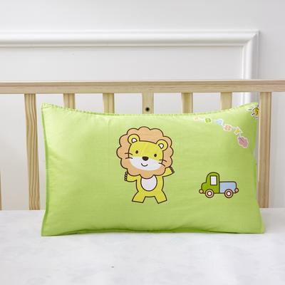 幼儿园儿童系列大版花13372纯棉卡通定位枕套 枕芯包装/个 小狮子枕套
