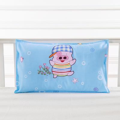 幼儿园儿童系列大版花13372纯棉卡通定位枕套 枕芯包装/个 小猪萌萌哒枕套