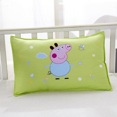 幼儿园儿童系列大版花13372纯棉卡通定位枕套 枕芯包装/个 小猪佩奇-绿枕套