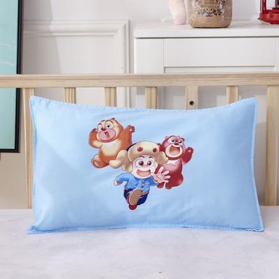 幼儿园儿童系列大版花13372纯棉卡通定位枕套 枕芯包装/个 熊大熊二枕套