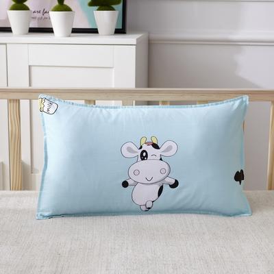 幼儿园儿童系列大版花13372纯棉卡通定位枕套 枕芯包装/个 悦动奶牛枕套