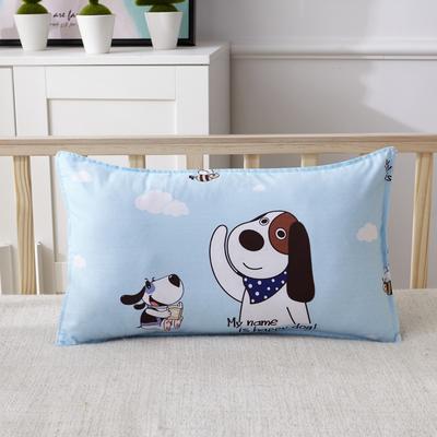 幼儿园儿童系列大版花13372纯棉卡通定位枕套 枕芯包装/个 长耳小狗枕套