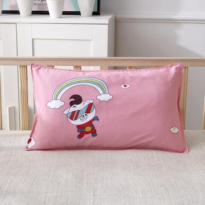 幼儿园儿童系列大版花13372纯棉卡通定位枕套 枕芯包装/个 猪猪侠-粉枕套