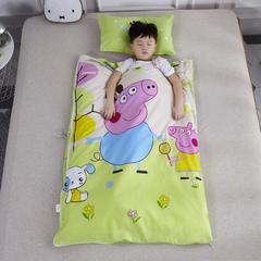 2018新款幼儿园儿童系列大版花型儿童睡袋防踢被-80*120cm 丝绵内胆丝厚一套小猪佩奇-绿