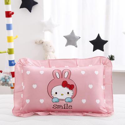 2019新款大版卡通花边枕套 枕芯包装 微笑猫咪
