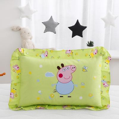 2019新款大版卡通花边枕套 枕芯包装 小猪佩奇-绿