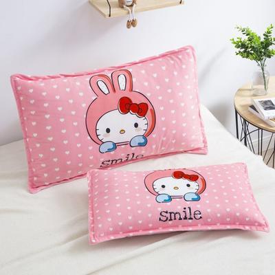 2019新款大版卡通水晶绒信封枕套 30cmX50cm单枕套 微笑猫咪