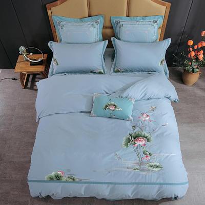 2019新中式-60支贡缎埃及长绒棉磨毛刺绣花边四件套 1.8m(6英尺)床 荷-水绿