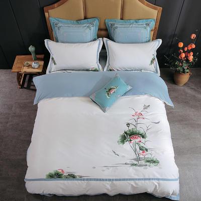 2019新中式-60支贡缎埃及长绒棉磨毛刺绣花边四件套 1.8m(6英尺)床 荷-甜白