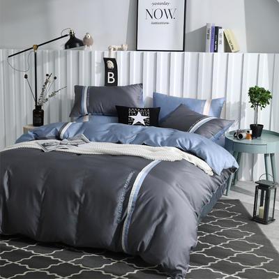 2019新款-AB双用双拼绣花工艺款60支长绒棉四件套 1.8m(6英尺)床 美式-蓝灰