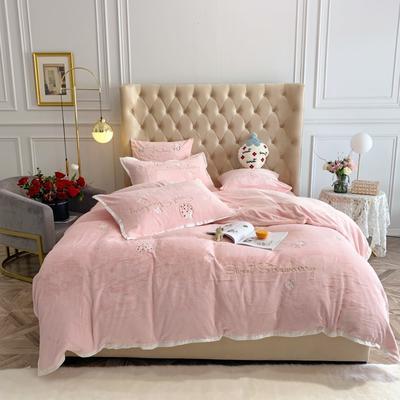 2019新款绒 绣花款四件套 1.5m床单款四件套 草莓 纯粉