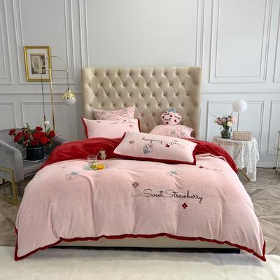 2019新款绒 绣花款四件套 1.5m床单款四件套 草莓 红粉