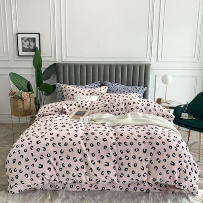 2019新款绒  印花款四件套 1.5m床单款四件套 豹纹 粉