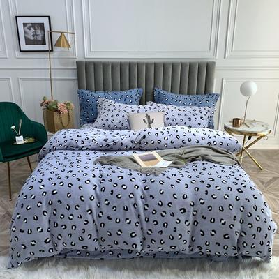 2019新款绒  印花款四件套 1.5m床单款四件套 豹纹 紫