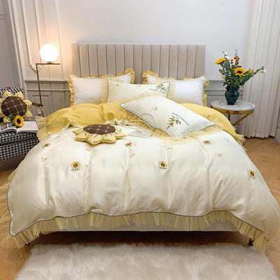2020春夏新款60天丝四件套-向日葵 1.5m(5英尺)床 向日葵 黄