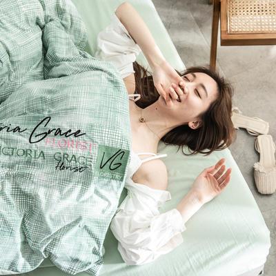 2019印花水洗棉 1.8m床笠款 维多利亚-绿