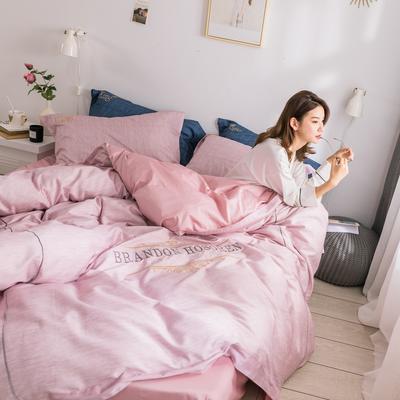 2019新款时尚肌理纹全棉绣花四件套 1.8m(6英尺)床 风尚-粉