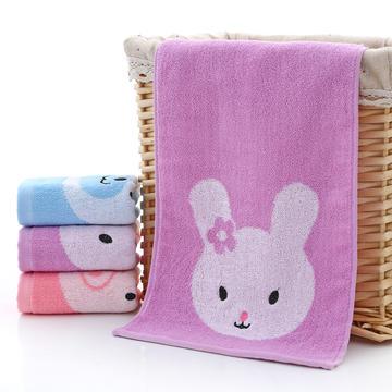 2018新款绣熊猪兔童巾 紫色25*50cm