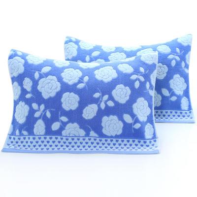 2018新款32股无捻花朵枕巾 52*75cm 蓝色花朵/对