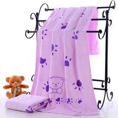 2018新款单板浴巾-70*140 小熊脚丫-紫(385克)