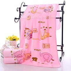 2018新款多板浴巾-70*140 动物浴巾-淡粉色(335克)
