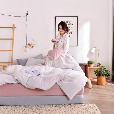 2019新款-全棉水洗棉宜家风四件套 1.2m(4英尺)床 白+藕粉