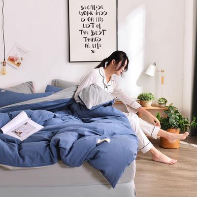 2019新款-全棉水洗棉宜家风四件套 1.2m(4英尺)床 牛仔蓝+浅灰