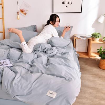 2019新款-全棉水洗棉宜家风四件套 1.2m(4英尺)床 浅灰