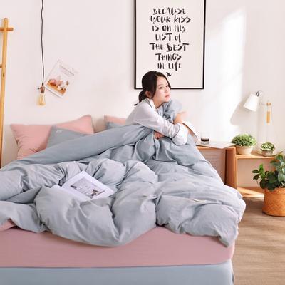 2019新款-全棉水洗棉宜家风四件套 1.2m(4英尺)床 浅灰+藕粉
