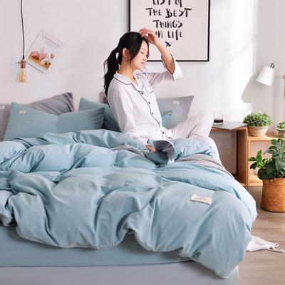 2019新款-全棉水洗棉宜家风四件套 1.2m(4英尺)床 浅蓝
