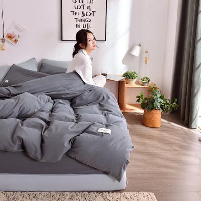 2019新款-全棉水洗棉宜家风四件套 1.2m(4英尺)床 深灰