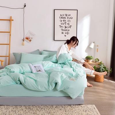 2019新款-全棉水洗棉宜家风四件套 1.2m(4英尺)床 水绿