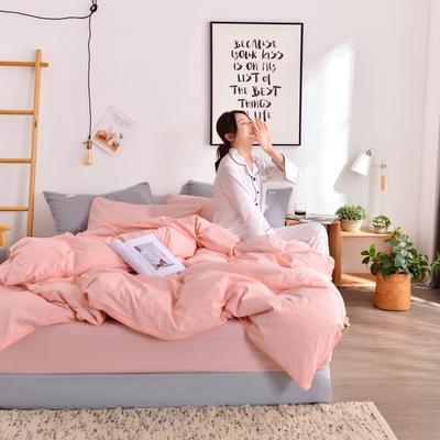 2019新款-全棉水洗棉宜家风四件套 1.2m(4英尺)床 玉粉