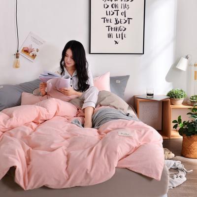 2019新款-全棉水洗棉宜家风四件套 1.2m(4英尺)床 玉粉+卡其
