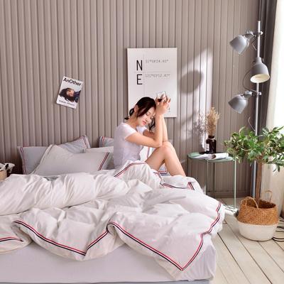 2019新款-英伦风四件套 1.5m(5英尺)床 纯白