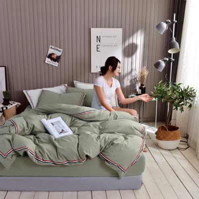 2019新款-英伦风四件套 1.5m(5英尺)床 豆绿