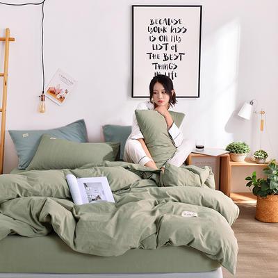 2019新款-水洗棉简约纯色四件套 三件套1.2m(4英尺)床 豆绿+浅蓝