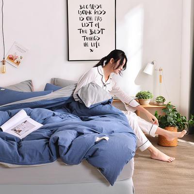 2019新款-水洗棉简约纯色四件套 三件套1.2m(4英尺)床 牛仔蓝+浅灰