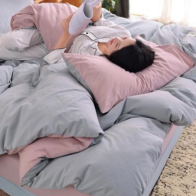 2019新款-水洗棉简约纯色四件套 三件套1.2m(4英尺)床 浅灰+藕粉