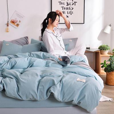 2019新款-水洗棉简约纯色四件套 三件套1.2m(4英尺)床 浅蓝+浅灰