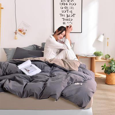 2019新款-水洗棉简约纯色四件套 三件套1.2m(4英尺)床 深灰